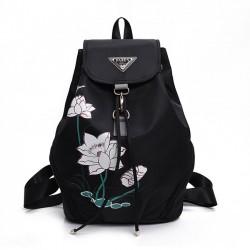 Mochila de escuela de flor de Nylon impresa Lotus de mujer creativa