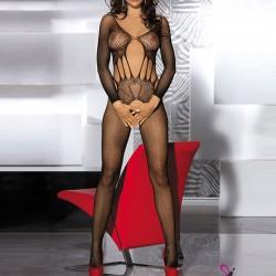 Sexy Jacquard ahuecado de una pieza de Split escritos Calzado de malla de la mujer a través de la ropa interior