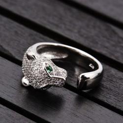 Diseño único leopardo de plata anillo de diamante ajustable Animal abierto