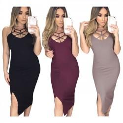Vestido ajustado de gasa con abertura lateral en el pecho de color entero para mujer Vestido skintight