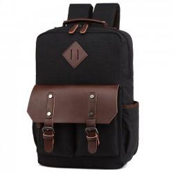 Solapa de cuero retro bolso de la computadora portátil grande que empalma la PU dos bolsillos mochila de viaje impermeable de la lona