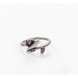 Vendimia Pájaro Antiguo Plata Diamante de imitación Animal anillo