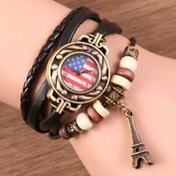 Retro Cuerda Tejido Reloj de pulsera de la Torre Eiffel Reloj de pulsera de la correa de cuero de la bandera americana