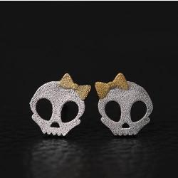 Original Dark Princess Punk Bowdot Skull Silver Stud Pendientes