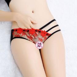Sexy delgada cintura baja tentación ropa interior bordado flor encaje pantalones íntima lencería
