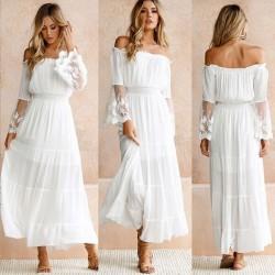 Falda sin tirantes con cuello cruzado y vestido de verano de encaje blanco