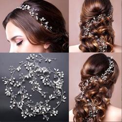 Linda Hojas Perla Rama Diadema Boda Cadena para el cabello Accesorios para el cabello