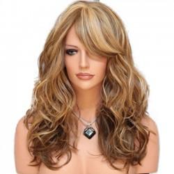 Moda Rizos Gradiente Marrón Big Wave Mujer Peluca de pelo