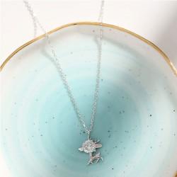 Colgante lindo regalo de novia Elk Cristal de ciervo Collar de plata para mujer