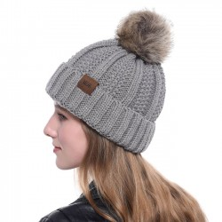 Nuevos Hairball Lana Accesorios para el cabello cálido Diademas de punto Sombrero de invierno para mujer