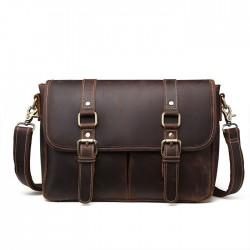 Bolsos de hombre retro Bolso de negocios de cuero con doble hebilla Bolso de hombro maletín original