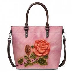 Retro Flor 3D Hojas Bolso de hombro original grande hecho a mano de cuero de Rose para mujer
