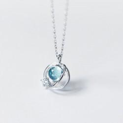 Tendencia de diamantes de diseño único Círculo dulce Planeta de cristal Collares de plata colgante