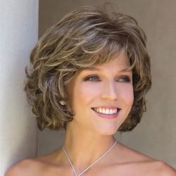 Moda dama de mediana edad peluca de pelo de color mezclado peluca de pelo corto y rizado para la cabeza