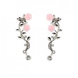Rosa Linda Hojas Rama Flor Diamante de imitación Muchachas Clips de oreja