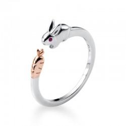 Dulce conejo anillos abiertos niñas ajustable abierto animal joyería regalos anillo de plata