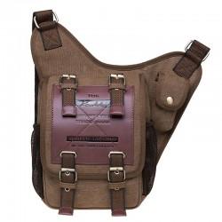 Vintage táctico cuatro hebillas cintura bolsa de mensajero al aire libre de cuero de los hombres Bolso maletín Bolso bandolera de lona