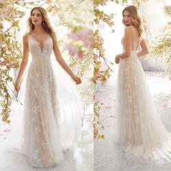 Vestido largo sin mangas de encaje sexy Vestido de dama de honor de hojas de flores de malla