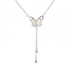 Lindo Mariposa Borla Joyas Regalo para ella Collar de animales Mariposa hueca Plata Collar de mujer