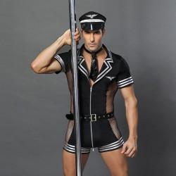 Sexy Capitán Disfraces de piloto Ropa de rendimiento Uniforme Seducción Bar Discoteca Cosplay Lencería masculina