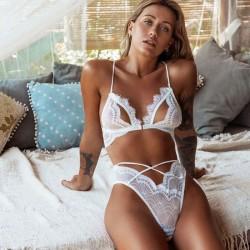 Sexy vendaje profundo V conjunto de sujetador de cintura alta encaje lencería de mujer hueca