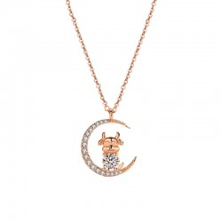 Fashion Rhinestone Moon Stars Cow Animals Cattle Pendant Rose Gold Silver Necklace