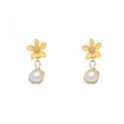 Pendientes de cristal con forma de gota de perlas de flores amarillas frescas para pendientes de mujer