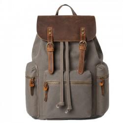 Cuero real de la vendimia grande gruesa lona tres bolsillos School Camping Bag mochila de viaje