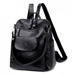 Fashion Pure Color Black Multifunction School Shoulder Bag PU Student Backpacks