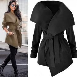 Abrigo ancho de terciopelo largo irregular de lana de gran tamaño elegante de las mujeres elegantes