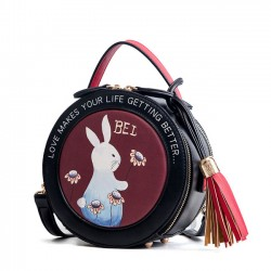 Bolso lindo con borla de conejo Bolso pequeño y redondo
