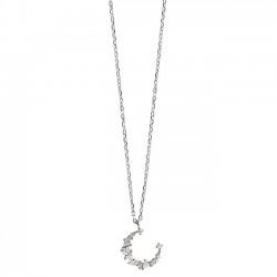 Unique Design Moon Zircon Pendant Silver Necklace Friend Gift Women Necklace