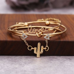 Unique Cactus Bracelet Triangle Arrow Knotted LOVE Combination Four Piece Bracelet