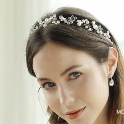 Única flor hermosa rama de perlas hechas a mano con cuentas diadema boda accesorios para el cabello
