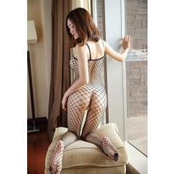 Sexy Caliente Body de rejilla sin entrepierna sin mangas Malla hueca de una pieza Body de lencería para mujer Lencería Pantimedias
