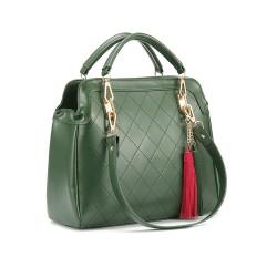 Moda Casual Oscuro Verde Flecos Bolso