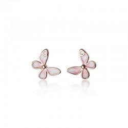 Pendientes de mariposa rosa dulce para mujer Pendientes de plata con forma de animal de cristal de mariposa