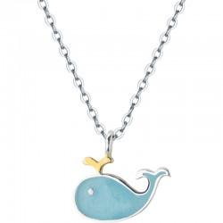 Precioso pez delfín colgante mujeres plata azul ballena animal colgante collar de joyería