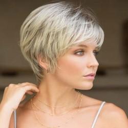 Peluca de pelo de mujer madura realista con pelo corto y rizado marrón nuevo
