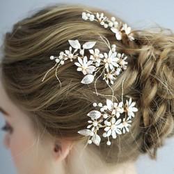 Dulce dama de honor hecha a mano perla flor rama horquilla novia boda accesorios para el cabello