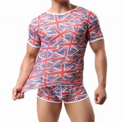 Lencería para hombres Chaleco con bandera británica Malla Camiseta de manga corta para hombres Camiseta sin mangas con bragas cortas Conjunto de 2 piezas Lencería