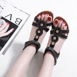 Nuevos zapatos de verano de talla grande con diamantes de imitación con cuentas bohemias Sandalias romanas