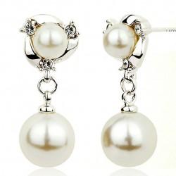 Perles de mode goutte d'oreille clip oreille gracieux perles de diamants bordées femmes argent boucles d'oreilles