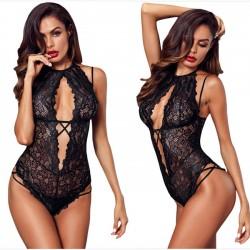 Lencería íntima combinada de encaje negro flor ropa interior tentación íntima de las mujeres