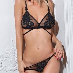 Conjunto de sujetador con perspectiva de flor con bordado de rosa negro sexy, lencería de mujer