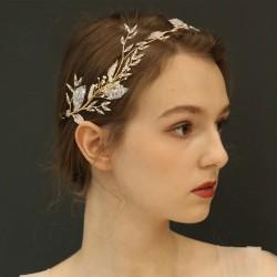 Rama de árbol nupcial única Hojas Banda para el cabello Accesorios para el cabello de boda de cristal