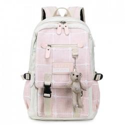 Mochila escolar de lona de rejilla con hebilla doble con decoración de oso de dibujos animados fresca, mochila universitaria de gran capacidad