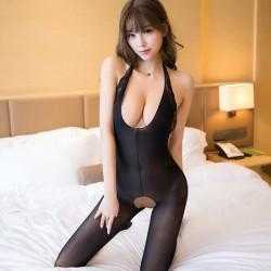 Sexy Teddy para mujer negro profundo V encaje entrepierna abierta medias Bodysuit lencería de una pieza Bodystocking