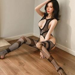 Sexy negro transparente tentación ahueca hacia fuera los senos Medias abiertas Body Teddy para mujer Lencería de una pieza Bodystocking