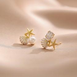 Linda perla de concha de estrella de mar Regalo de cristal Joyas de verano Ocean Sea para sus pendientes de mujer